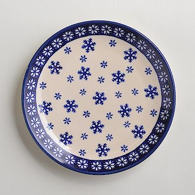 波蘭陶手工製 雪白冰花 淺底圓形餐盤19cm
