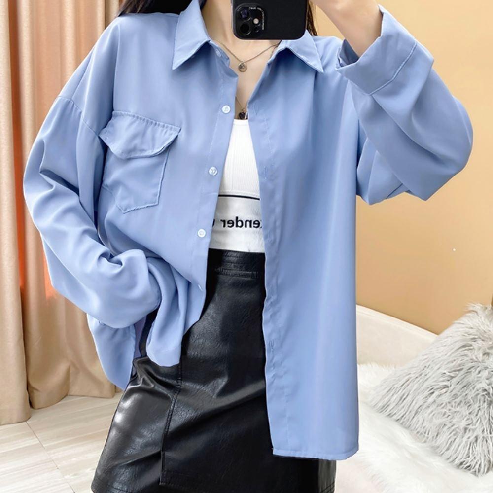La Belleza素色單口袋防曬冷氣房開釦寬鬆前短後長薄料襯衫