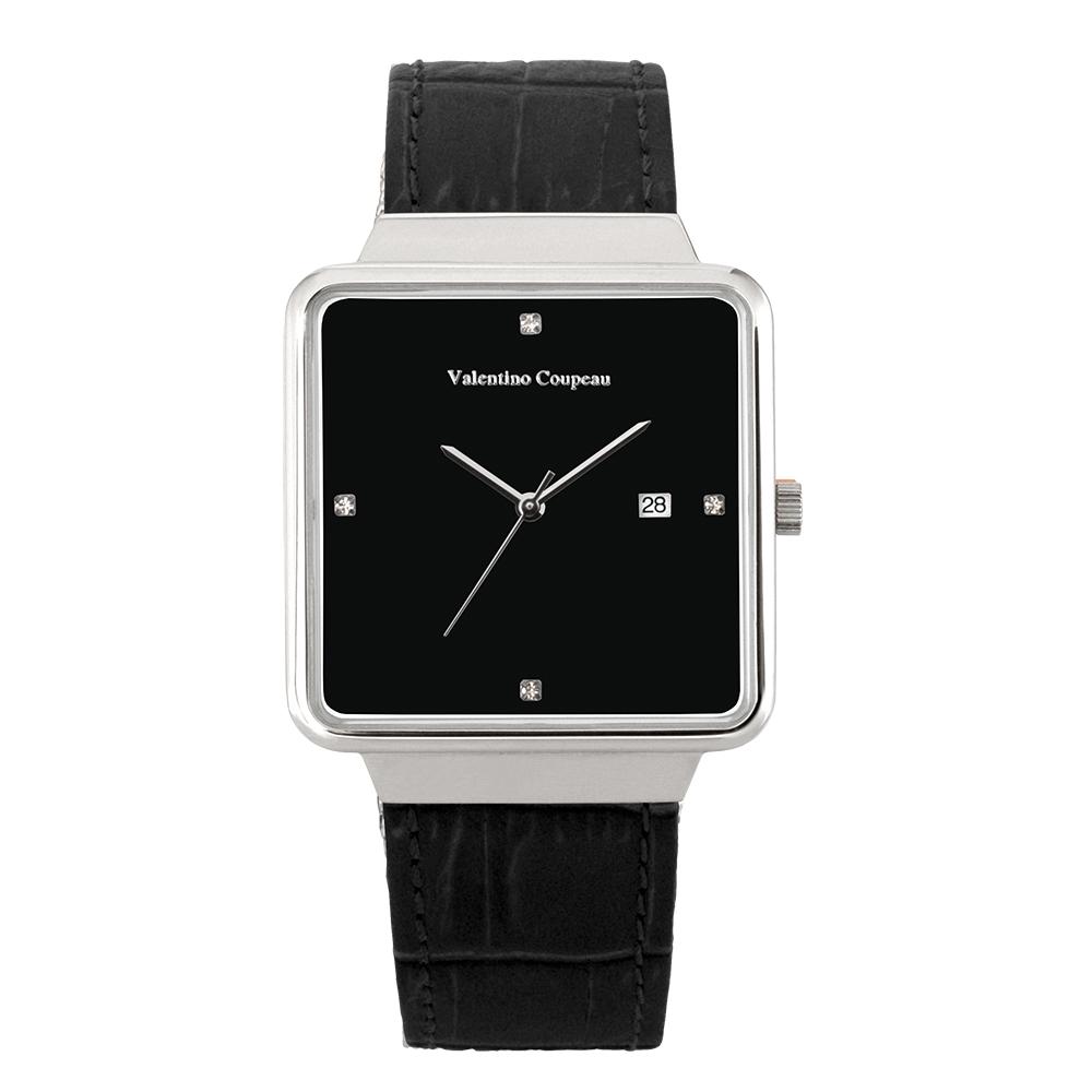Valentino Coupeau 范倫鐵諾 古柏 輕巧極簡設計腕錶【銀色/黑皮/黑珠】