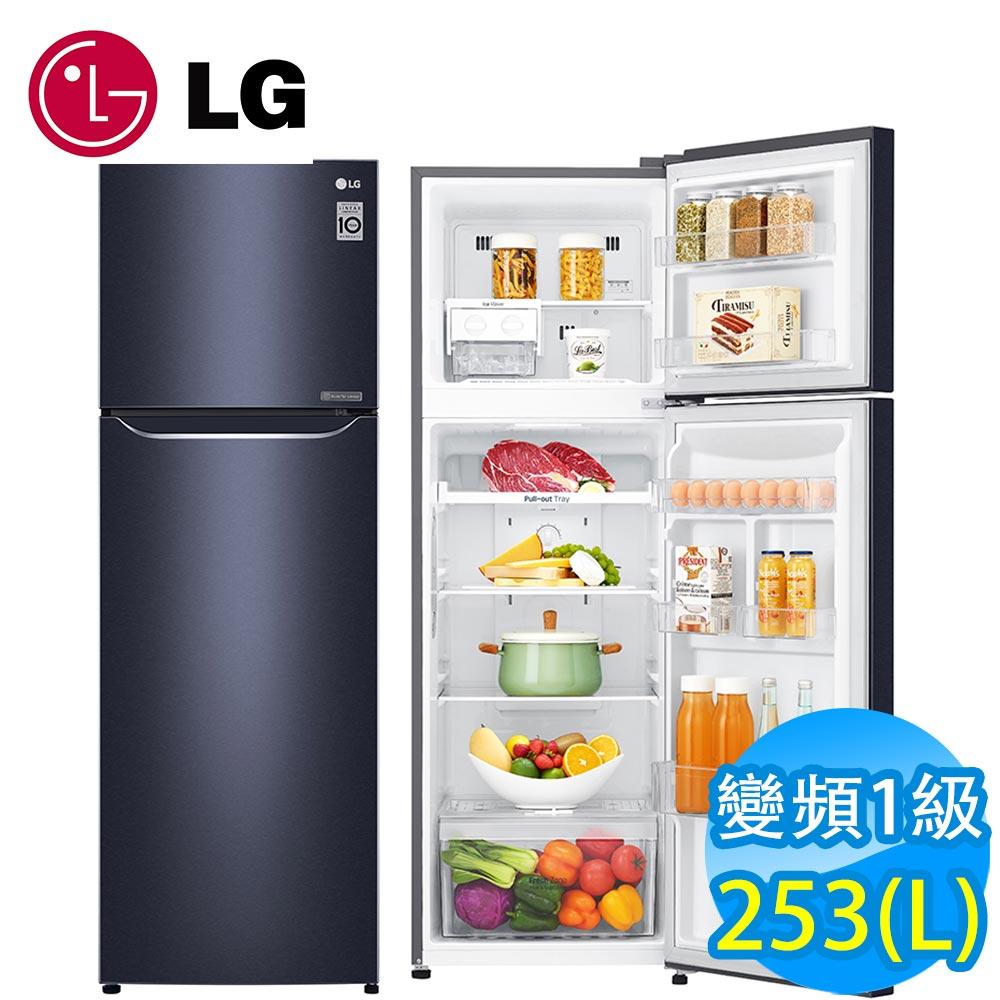 [館長推薦]LG樂金 253L 一級能效直驅變頻上下門冰箱(典雅藍)GN-L307C