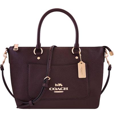 COACH 深咖啡色荔枝紋皮革手提/斜背兩用包