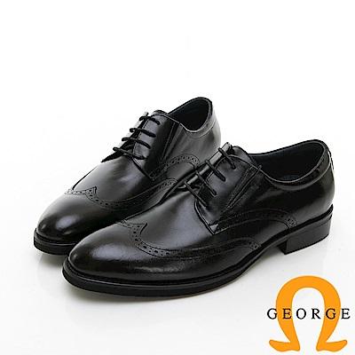 【GEORGE 喬治皮鞋】商務系列 雕花綁帶紳士皮鞋-黑色