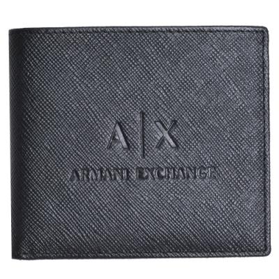 ARMANI EXCHANGE 經典防刮壓紋品牌LOGO卡片零錢短夾(黑)