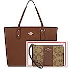 COACH 咖啡色防刮皮革托特包-大型+COACH 咖啡色大C PVC手拿包