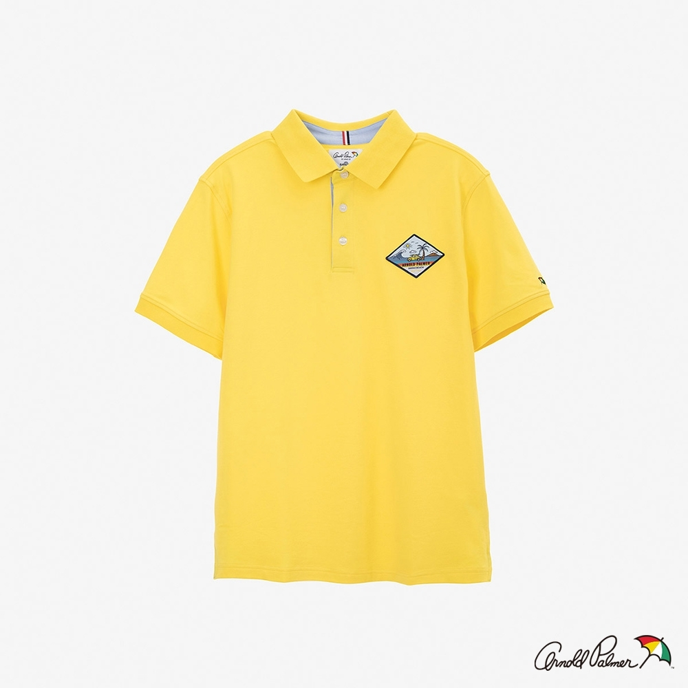 Arnold Palmer-男裝-主題貼布涼感POLO衫-黃