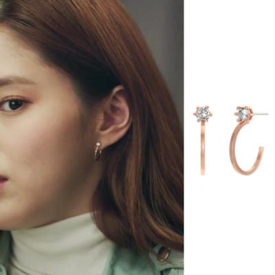梨花HaNA  韓國925銀夫妻的世界韓素希玫瑰金點鑽曲線耳環