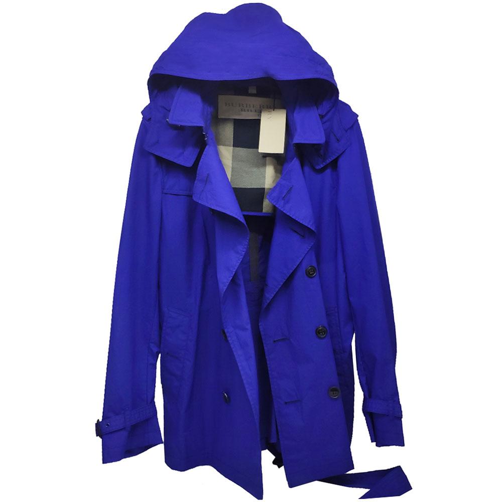 BURBERRY BRIT 可拆式連帽男士經典棉質風衣外套(亮海軍藍)
