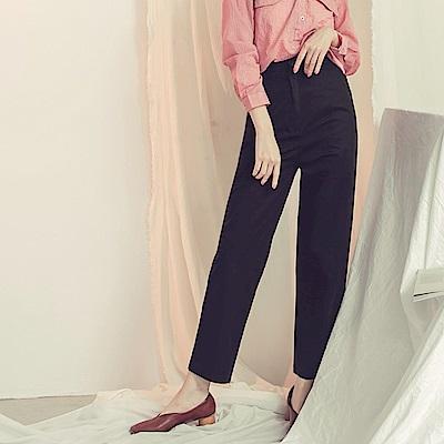 純色後腰鬆緊寬版長褲-OB大尺碼