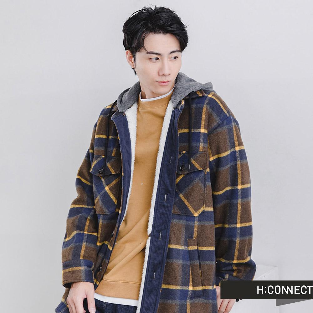 H:CONNECT 韓國品牌 男裝 -內刷毛格紋連帽外套-棕