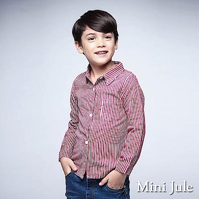 Mini Jule 上衣 滿版條紋單口袋襯衫(紅)