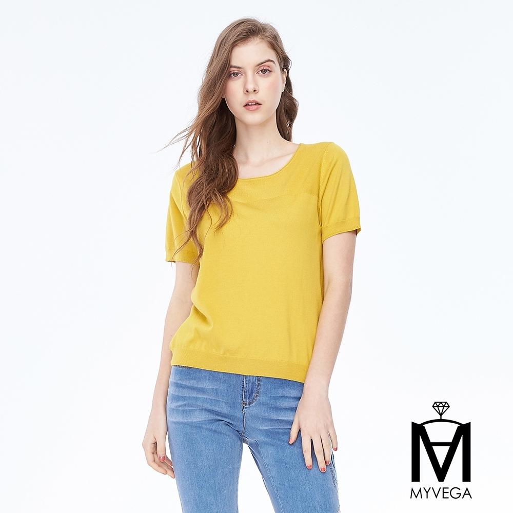 麥雪爾 MA素面針織拼色上衣-黃