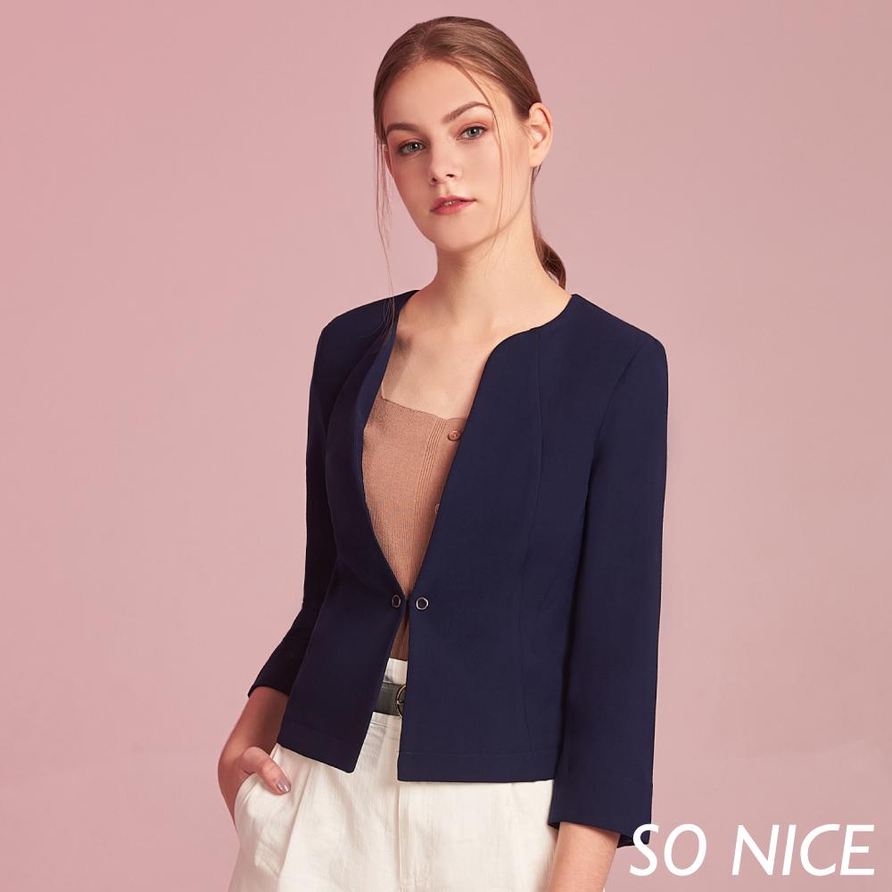 SO NICE都會簡約七分袖雪紡外套