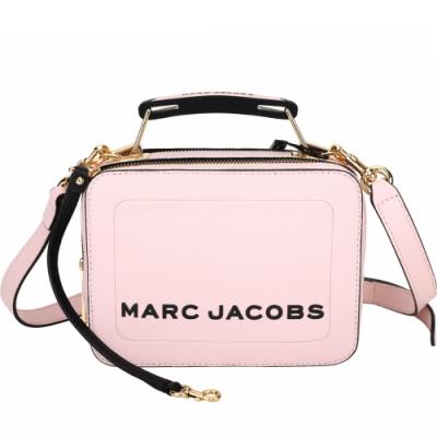 MARC JACOBS THE BOX 20 荔紋牛皮雙拉鍊手提/肩背包(粉色)