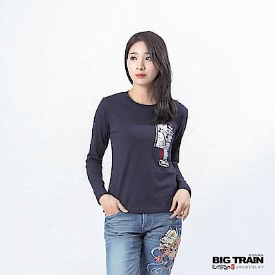 BIG TRAIN 幻空武將LOGO長袖女款-深藍