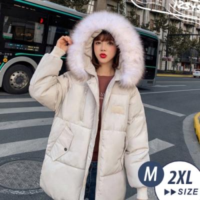 【LANNI 藍尼】 韓版大尺碼毛毛科技羽絨外套+