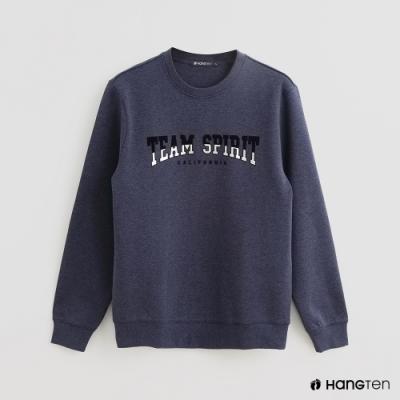 Hang Ten - 男裝 - 簡約文字印花長袖上衣 - 藍
