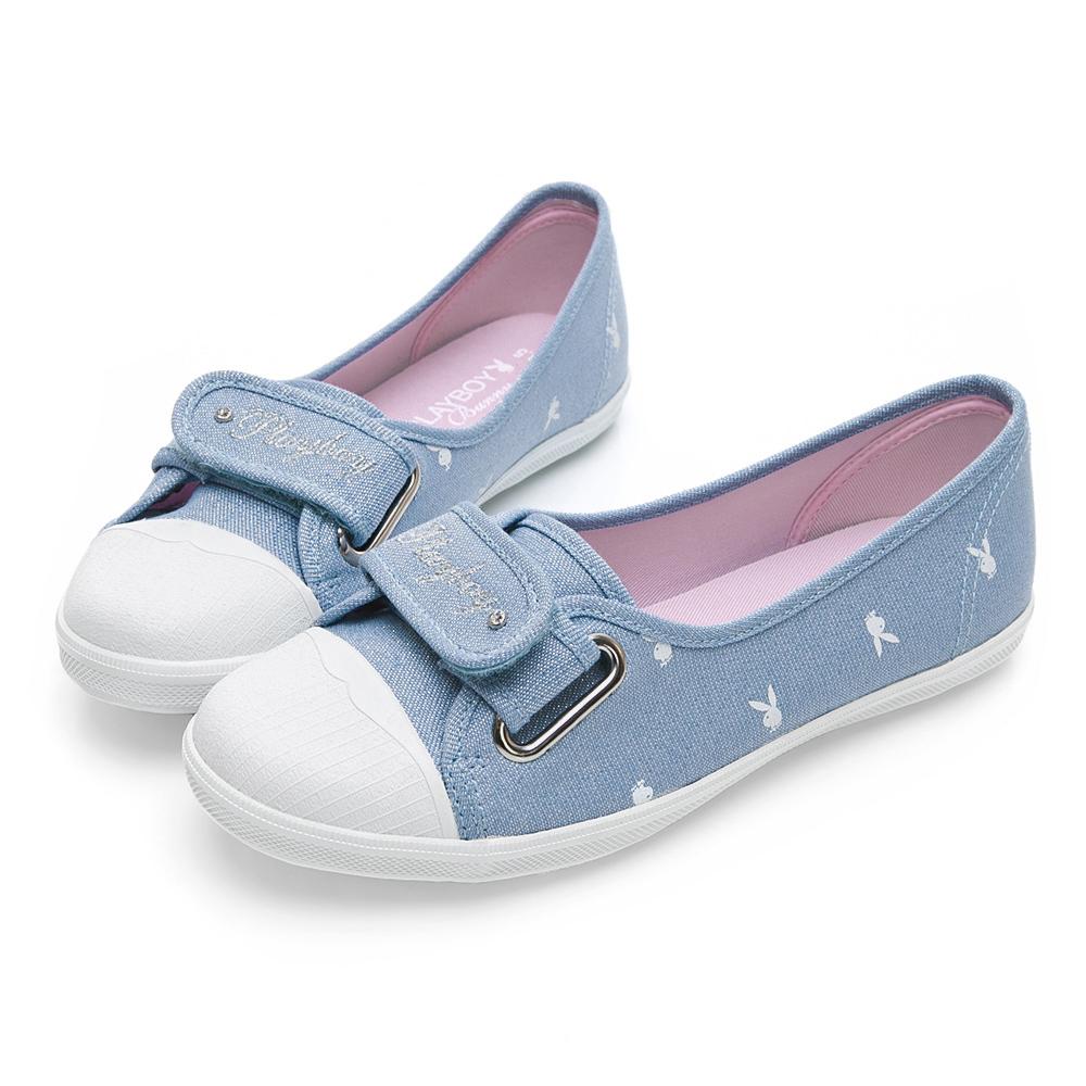 PLAYBOY 亮蔥輕便丹寧帆布便鞋-藍-Y5206FF