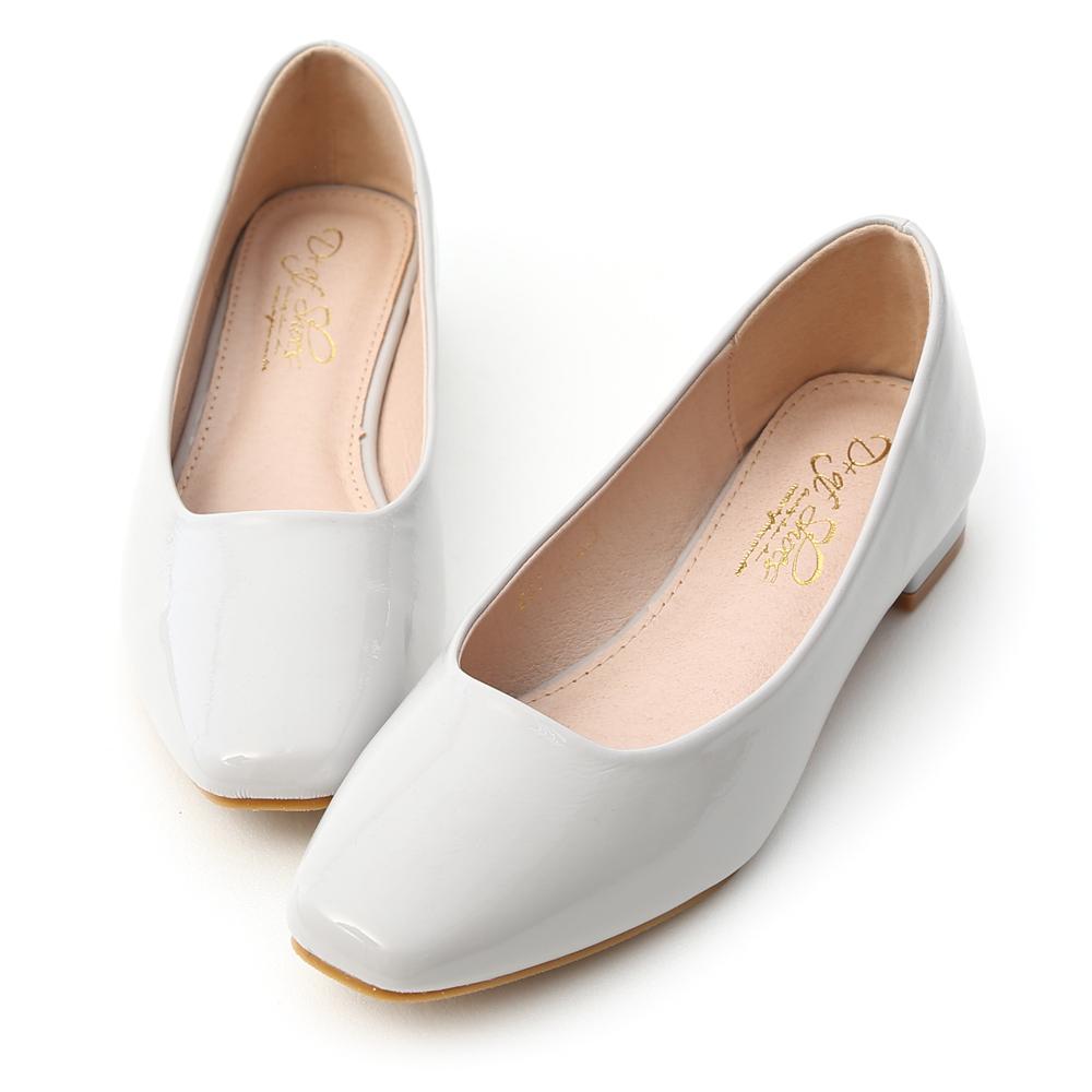 D+AF 輕透春氛.素面小方頭漆皮低跟鞋*灰