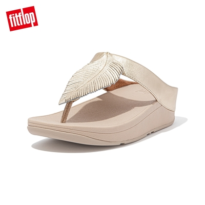 FitFlop FINO FEATHER TOE-POST SANDALS 羽毛裝飾夾腳涼鞋-女(金鉑色)