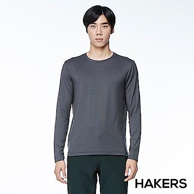 【HAKERS】男款 圓領內層保暖衣(深灰)