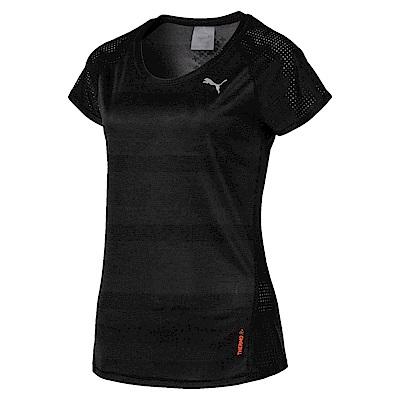 PUMA-女性慢跑系列Thermo-R+短袖T恤-黑色(麻花)-歐規