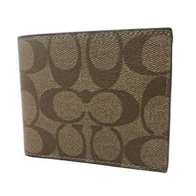 COACH 經典LOGO PVC皮革6卡照片證件對折輕便短夾-焦糖(展示品)