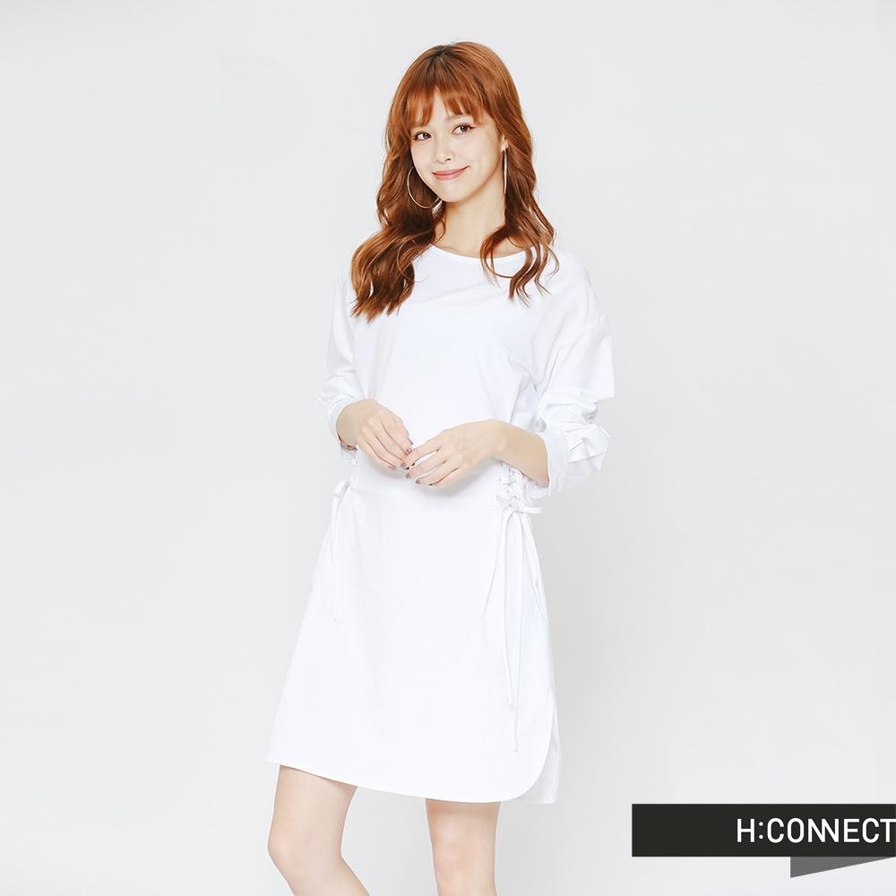H:CONNECT 韓國品牌 女裝-綁帶設計修身洋裝 - 白 (快)