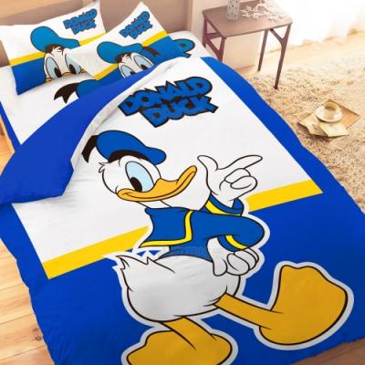 享夢城堡 單人床包雙人兩用被套三件組-迪士尼唐老鴨Donald Duck 經典-藍
