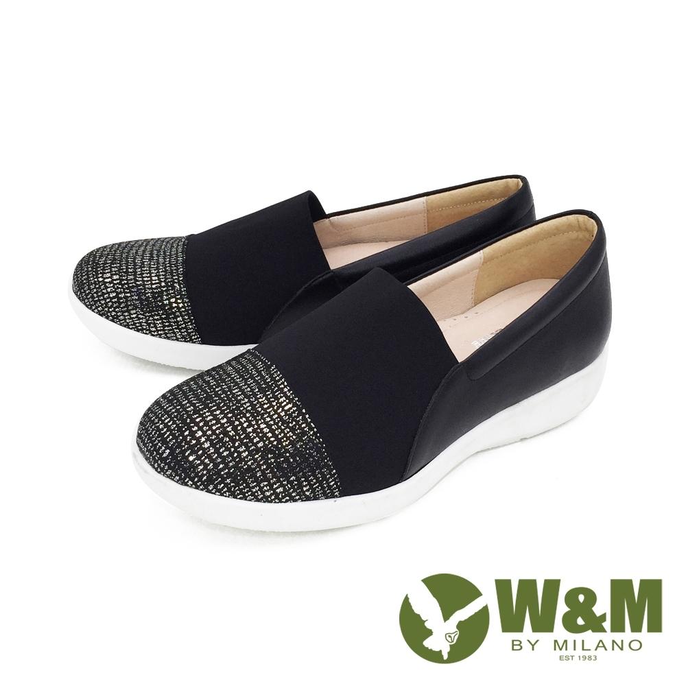W&M(女)圓頭銀蔥內增高鞋 厚底鞋 自尊鞋-黑(另有銀灰)