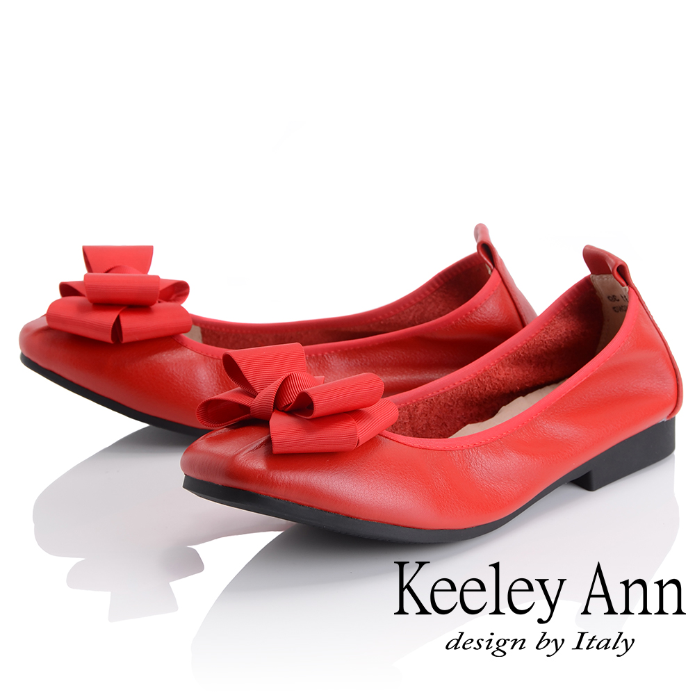 Keeley Ann 簡約百搭~立體蝴蝶結緞帶柔軟舒適娃娃鞋(紅色)