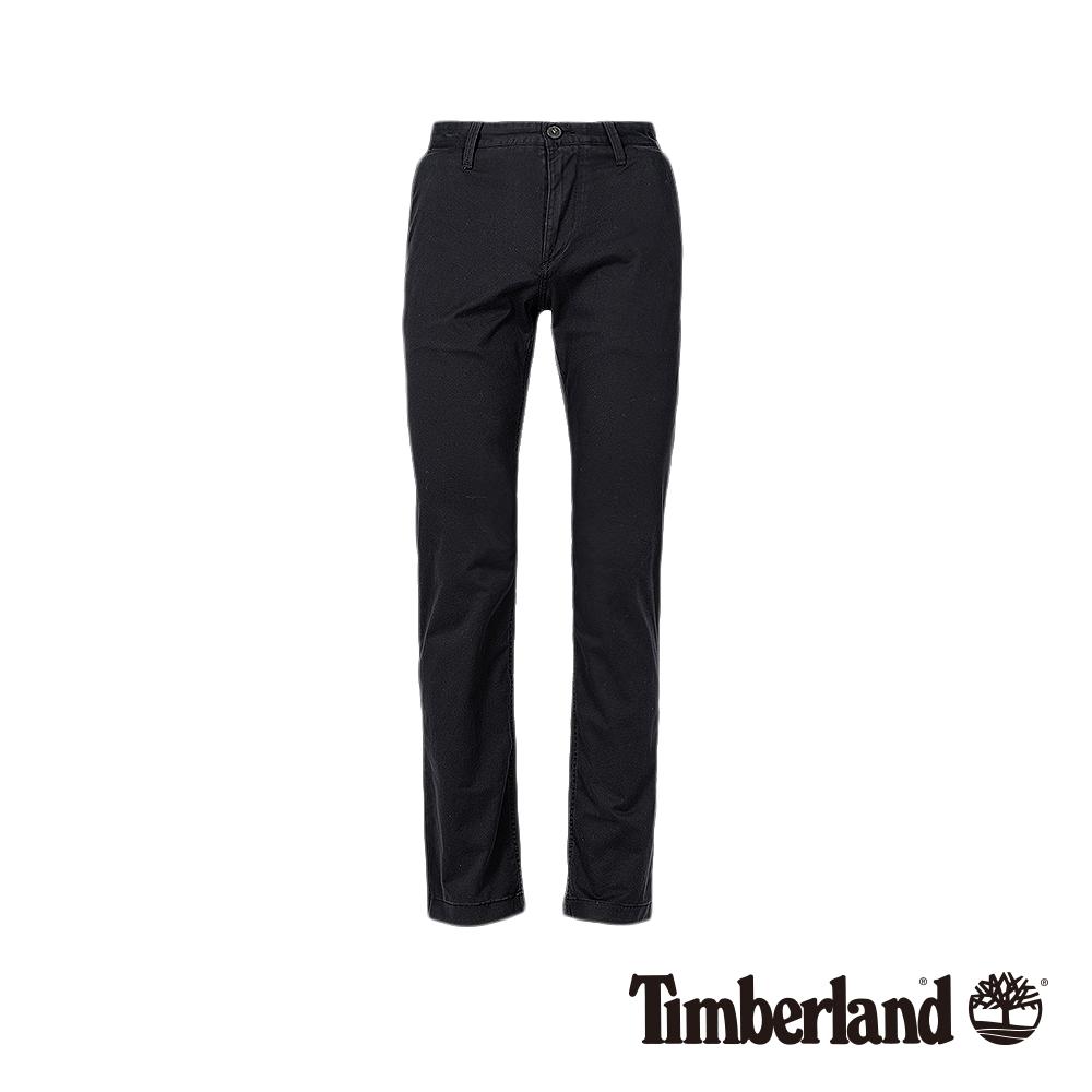 Timberland 男款黑色直筒彈力斜紋布長褲|A1VUA