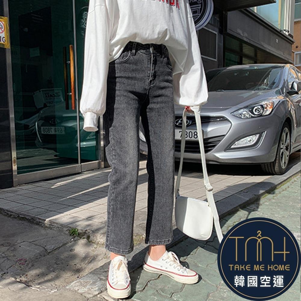 刷白煙灰色直筒牛仔褲-TMH