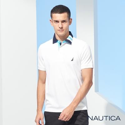 Nautica 男裝繽紛衣領短袖POLO衫-白