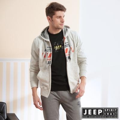 JEEP 經典美式圖騰連帽外套-灰色
