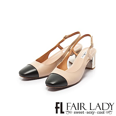 Fair Lady優雅小姐Miss Elegant拼接方頭後拉帶粗跟涼鞋 卡其