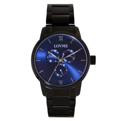 LOVME 紳士質感不鏽鋼三眼手錶-IP黑x藍/43mm
