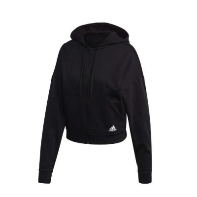 adidas 外套 BOS AOP FZ HD 運動休閒 女款 愛迪達 連帽 短版 基本款 棉質 保暖 黑 白 FR5102
