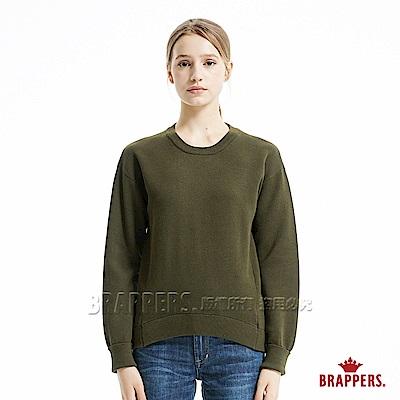 BRAPPERS 女款 雙色落肩長袖線衫-綠