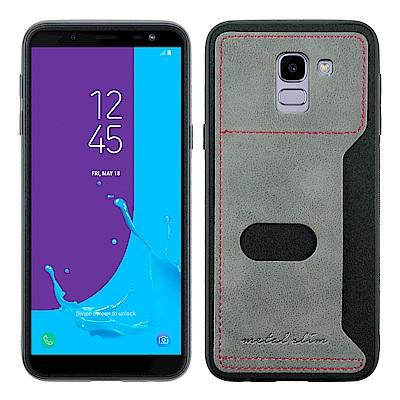 Metal-Slim Samsung Galaxy J6 簡約皮質插卡式保護殼