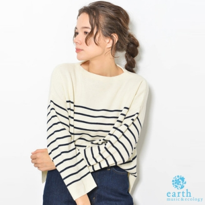 earth music 素面/橫條紋羅紋針織