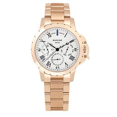 Manlike 曼莉萊克 藍寶石多功能三眼腕錶 玫瑰金色 白面 鋼帶