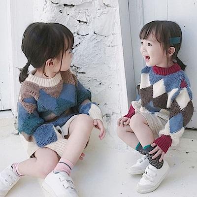 小衣衫童裝   男女童時尚稜形幾何拼色長袖毛衣1071113