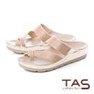 TAS滿版水鑽寬繫帶拇指環厚底涼拖鞋-閃耀金