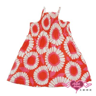 【天使霓裳-童裝】花漾時刻 可愛無袖細肩帶小洋裝(橘紅)