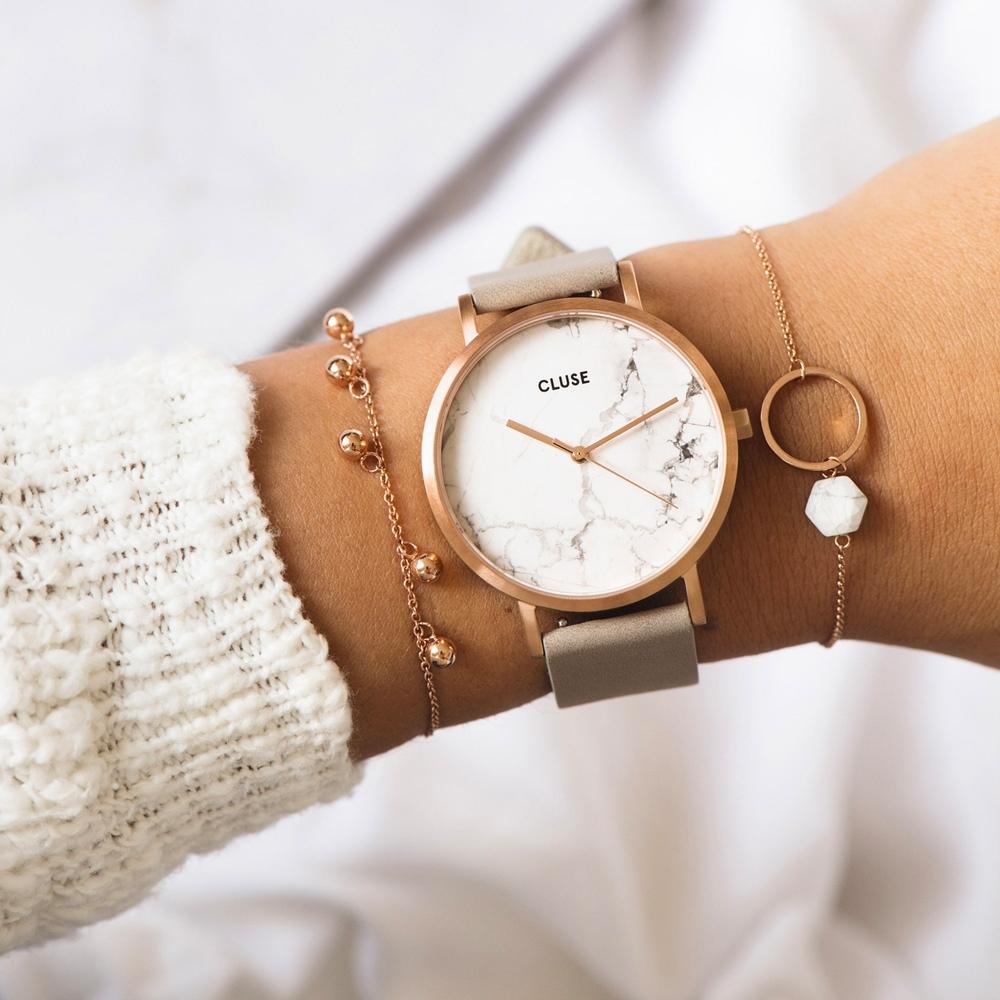 CLUSE La Roche Marble腕錶/ 玫瑰金框天然大理石白底/ 灰錶帶(CL40005)-38mm