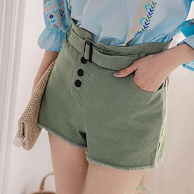 IREAL排釦抽鬚修腿短褲/附腰帶
