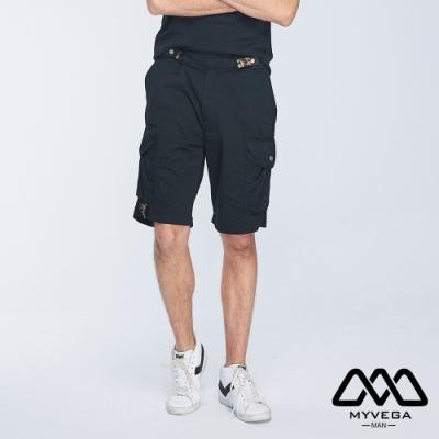 MYVEGA MAN可調節腰帶多口袋工裝短褲-黑