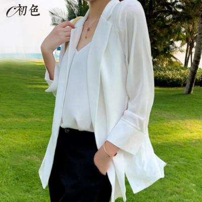 初色  雪紡涼感西裝外套-共3色-(M-2XL可選)