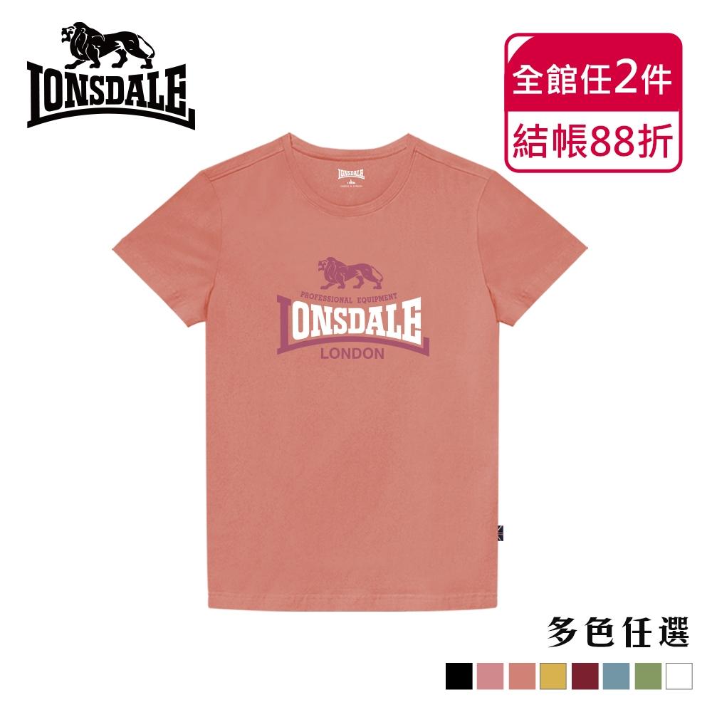 【LONSDALE 英國小獅】經典LOGO短袖T恤-粉橘LT001