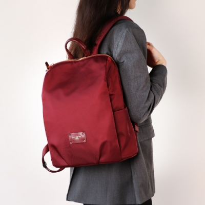 Samsonite RED CLODI簡約輕巧抓皺設計後背包 12.5(酒紅)